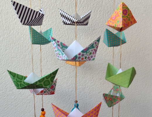 Movil barcos papel origami