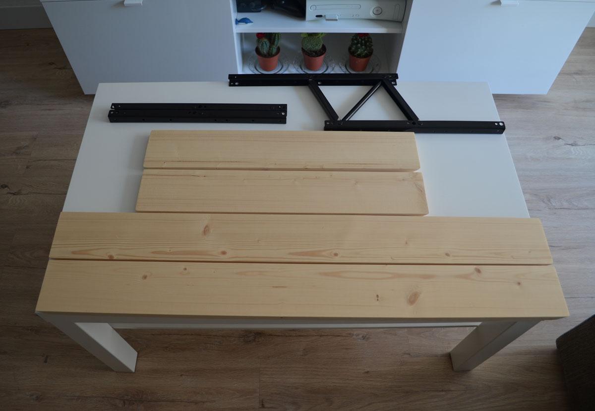 Como hacer una mesa elevable con una mesa lack depart - Forrar pared de madera ...