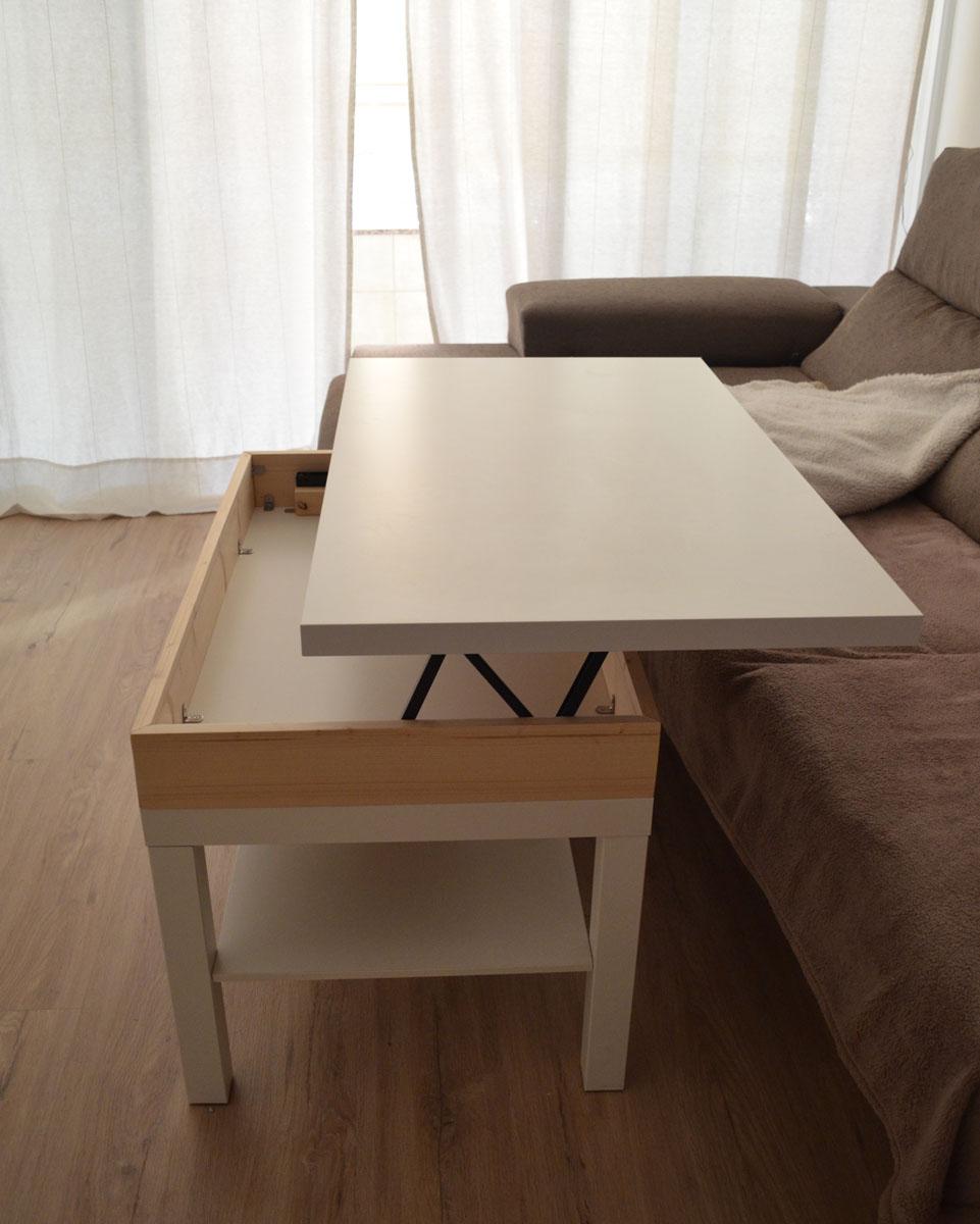 Como hacer una mesa elevable con una mesa lack depart for Ikea mesa centro elevable