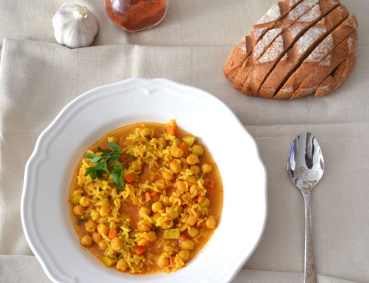 Potaje_garbanzos_arroz_vegetariano_verduras