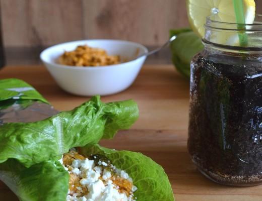 Enrollado lechuga pollo coleslaw receta