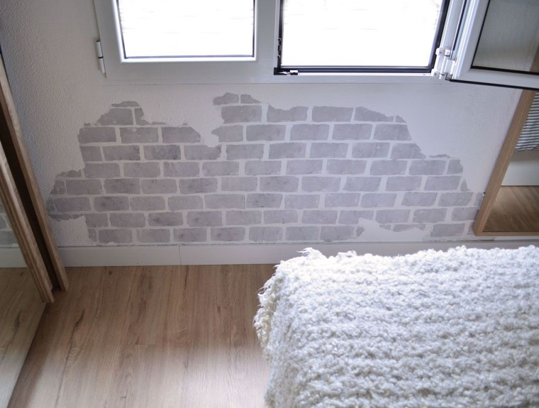 C mo pintar una pared con efecto ladrillo departamento - Como pintar una pared ya pintada ...