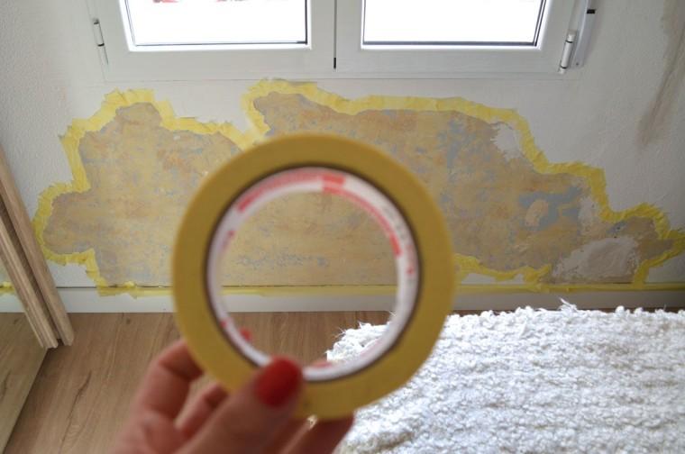 Pintar pared estropeada con efecto ladrillo