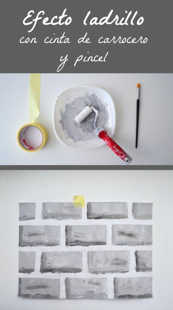 Pintar efecto ladrillos con pincel