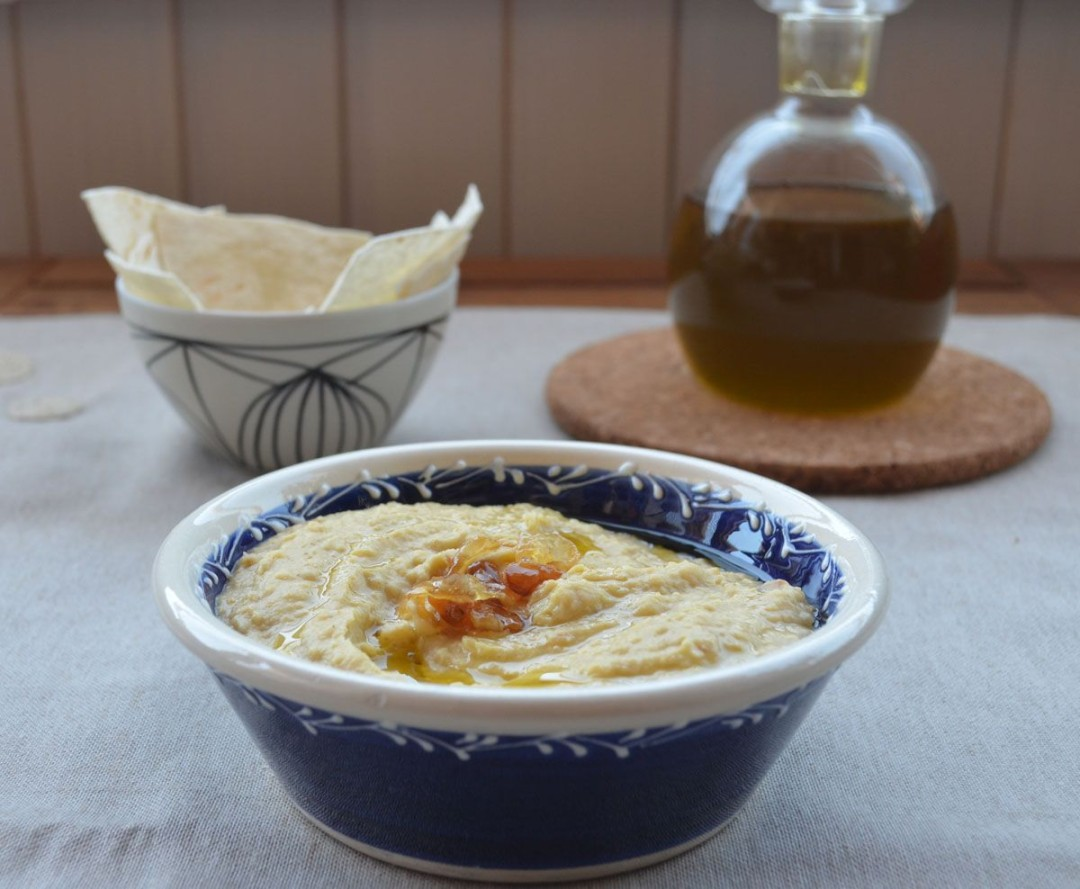 Hummus cebolla caramelizada receta
