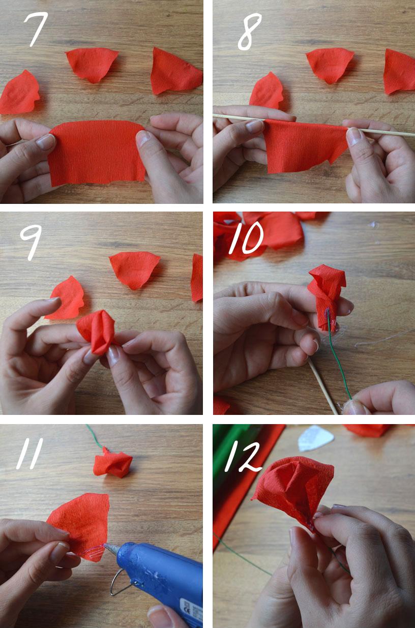 C mo hacer rosas de papel crep departamento de ideas - Como secar una rosa ...