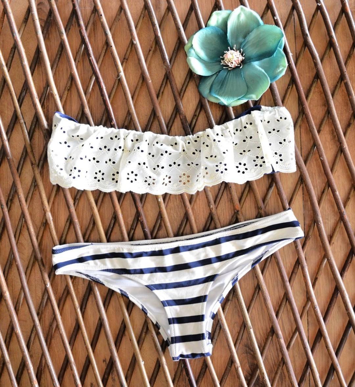 Bikini marinero volante bordado