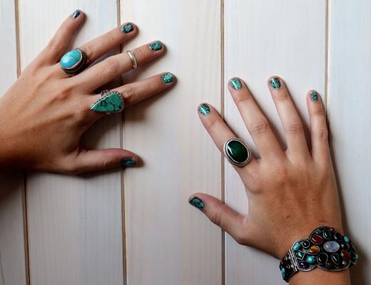 Boho nails uñas marmol