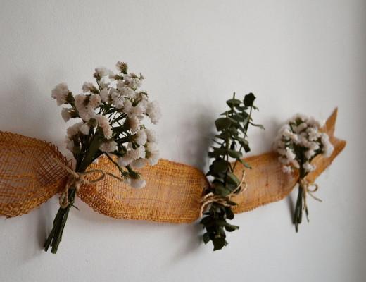 Decorar flores secas guirnalda