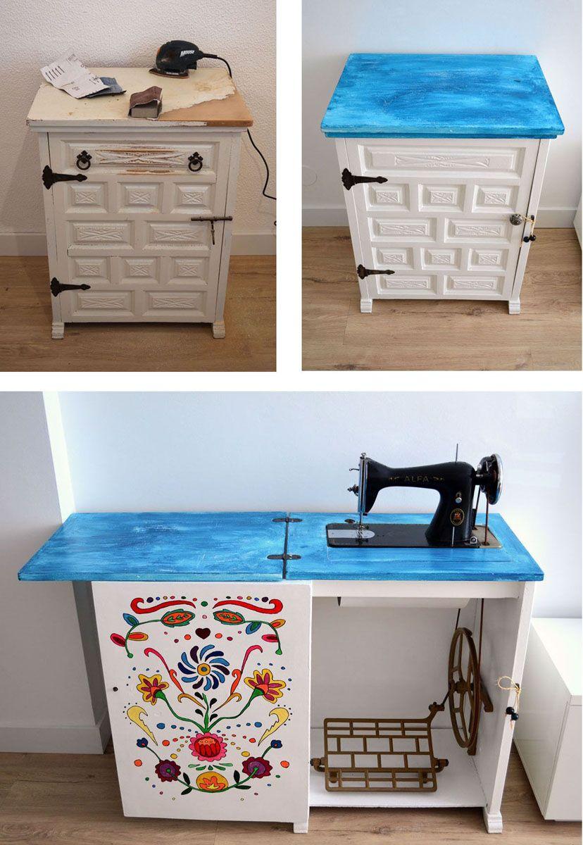 Mueble De M Quina De Coser Antigua Restaurada Departamento De I # Muebles Maquina De Coser